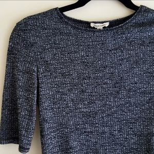 Urban Outfitters Half Crop Top Black Gray Ribbed